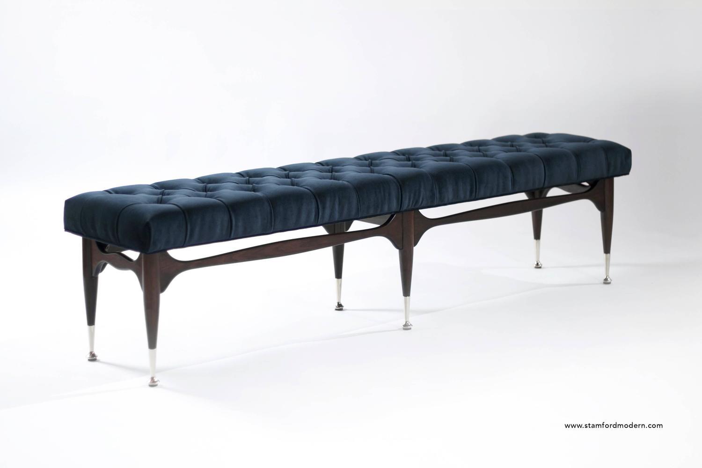 Midcentury Sculptural Tufted Bench In Navy Blue Velvet For Sale At 1stdibs