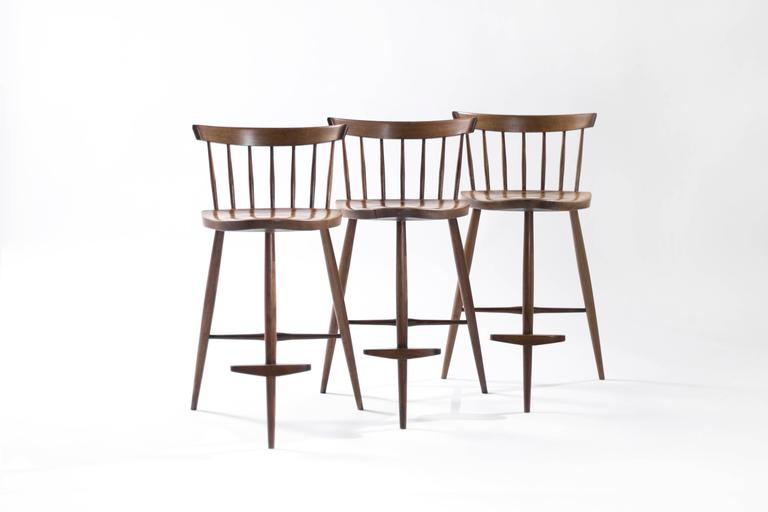 Set Of Three Mira Bar Stools By George Nakashima At 1stdibs