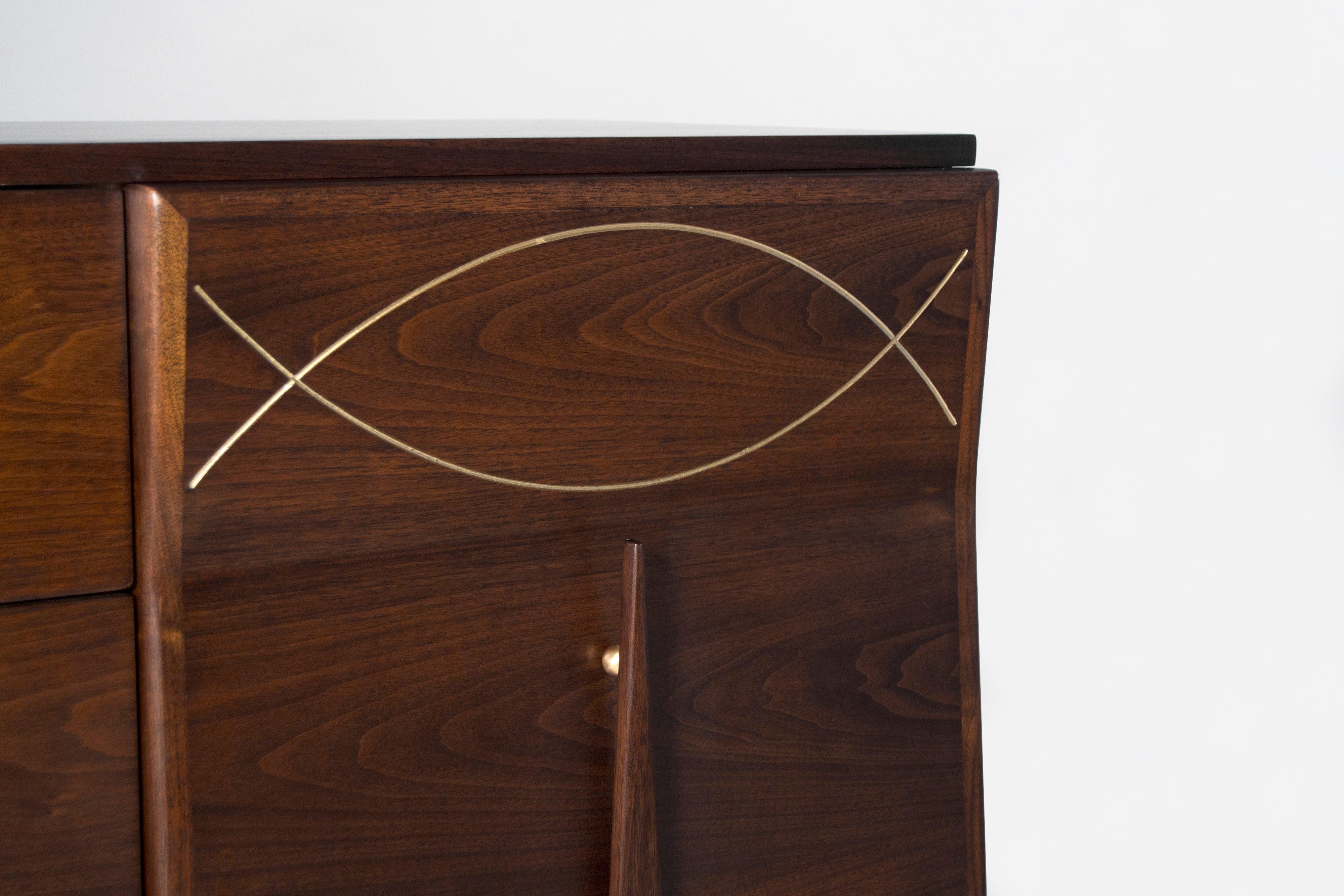 Mid Century Modern Sculptural Walnut Inlaid Brass Credenza For Sale At