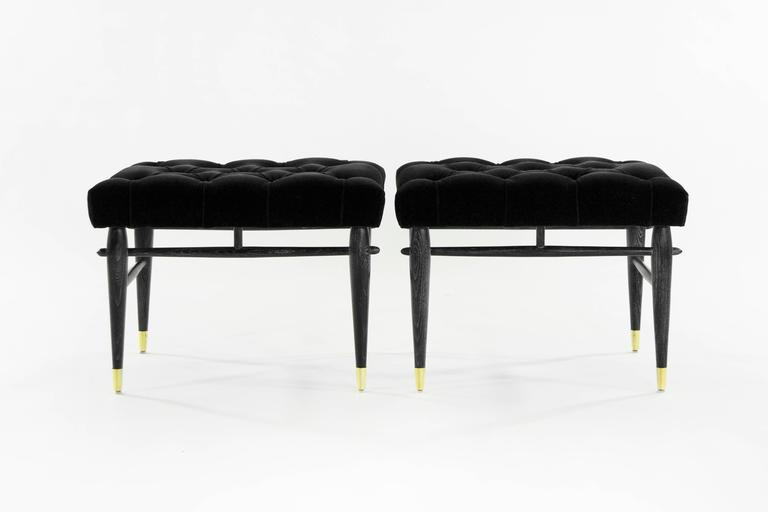 Pair of Cerused Benches in Tufted Black Mohair, 1950s 3
