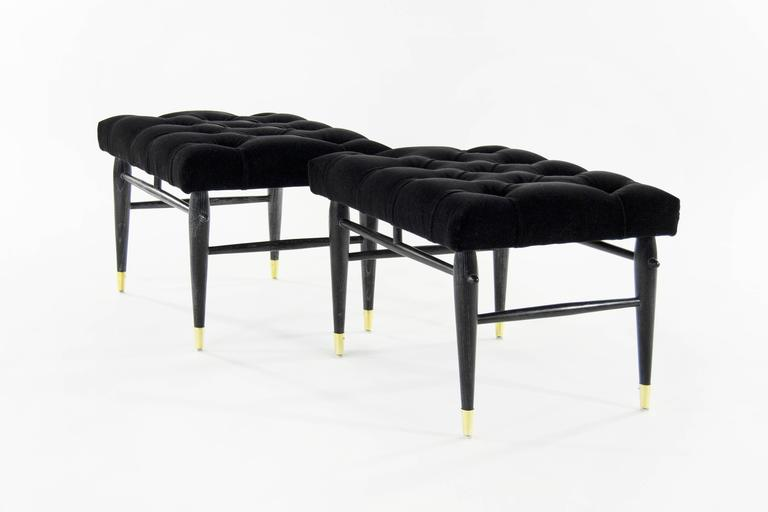 Pair of Cerused Benches in Tufted Black Mohair, 1950s 5
