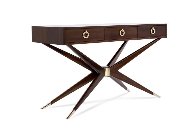 Mid-Century Modern Mahogany Sputnik Console Table For Sale