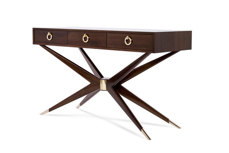 American Mahogany Sputnik Console Table For Sale