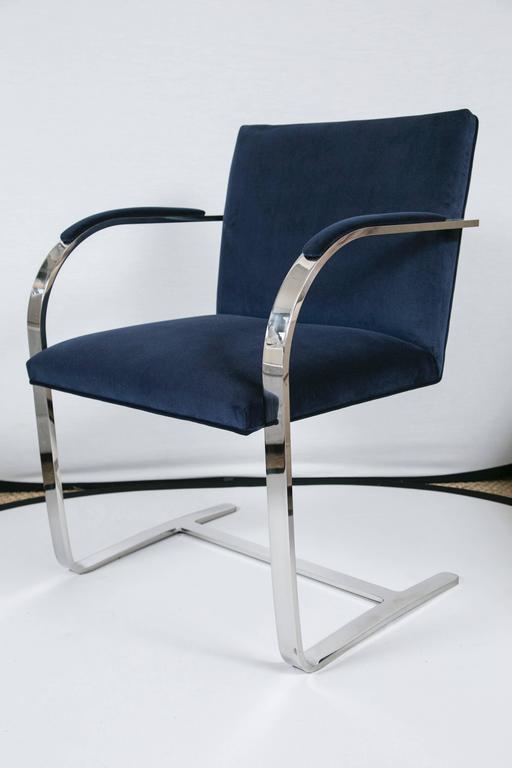 Flat Bar Brno Chair in Navy Velvet 2