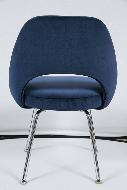 Saarinen executive armless chair in navy velvet for sale for Saarinen executive armless chair
