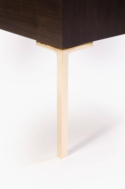 Contemporary Astor Brass Nightstands in Ebony & Ivory Walnut by Montage For Sale