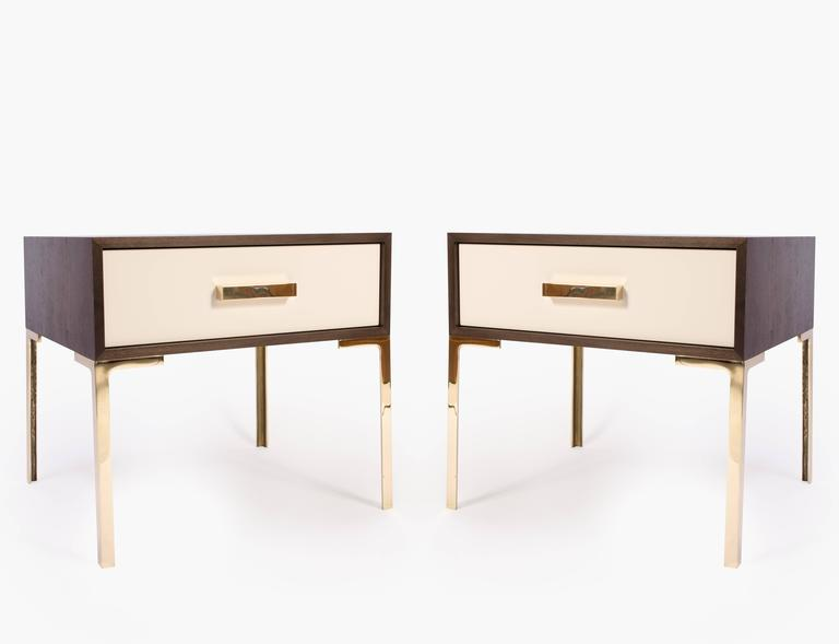 A stunning creation by Montage, the Astor nightstand. These were designed with the Mid-Century in mind embodying delicate proportions and bold use of the highest quality materials. 