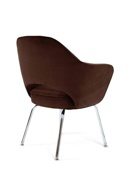 saarinen executive armchairs in espresso brown velvet set