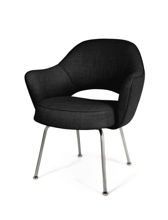 Saarinen for Knoll Executive Arm Chairs in Black Woven  : SaarinenArmchairBelgiumBlackAnglel from www.1stdibs.com size 588 x 768 jpeg 19kB