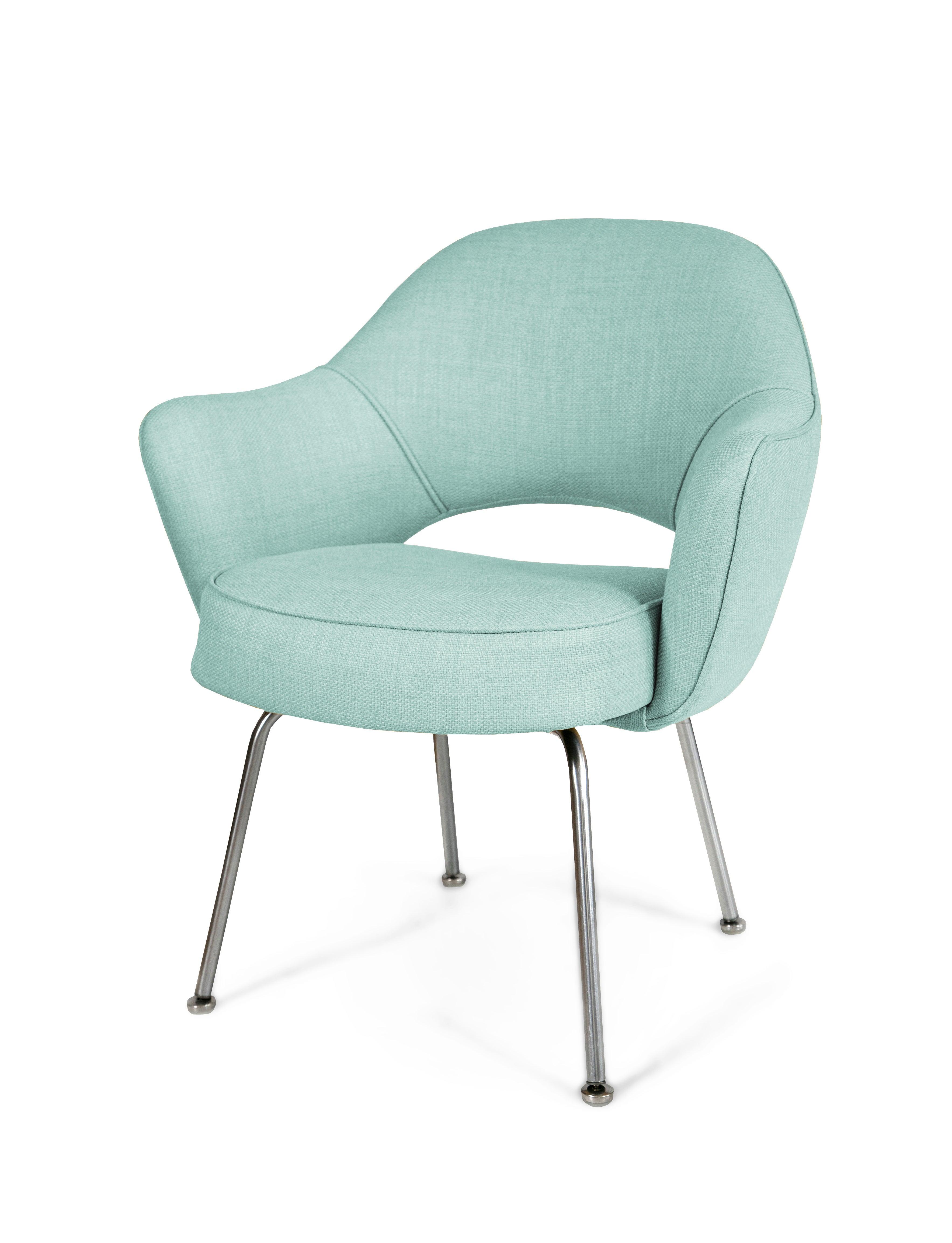 Saarinen Executive Arm Chairs In Powder Blue Weave, Set Of
