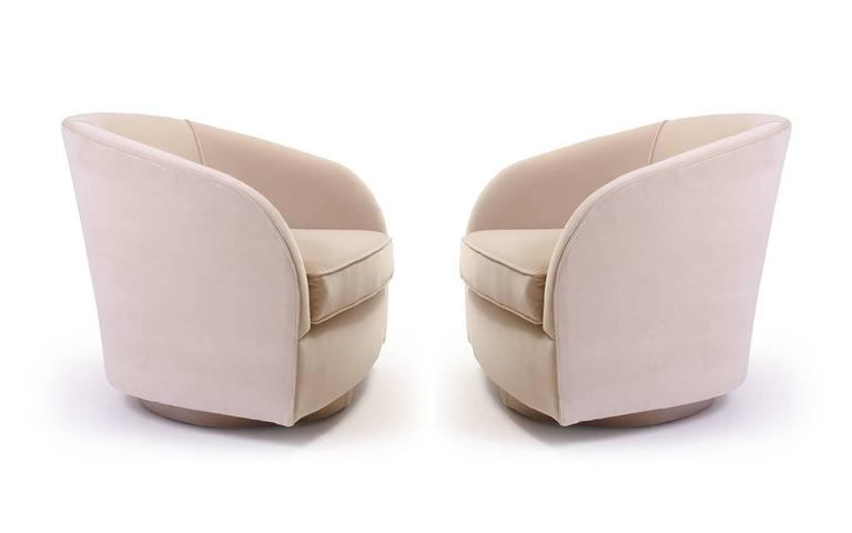 Mid Century Modern Mid Century Swivel Chairs In Sand Velvet For Sale