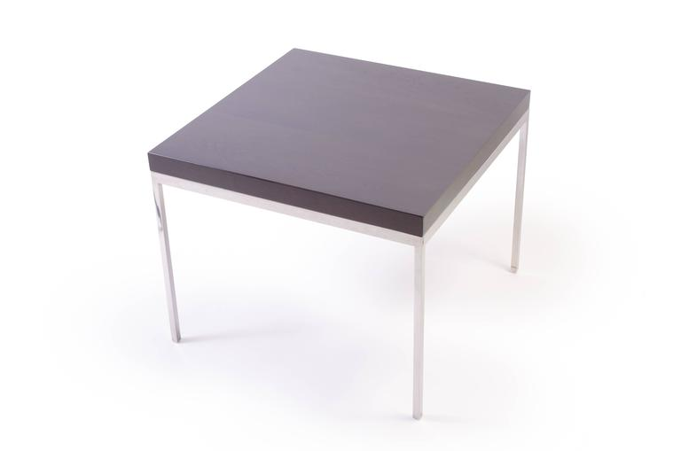 Mid-Century Modern Walnut and Chrome Modernist Side Table For Sale