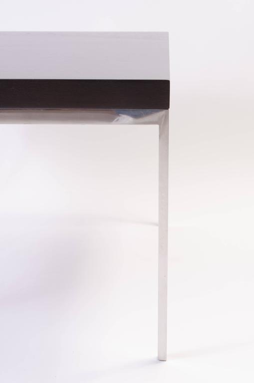 American Walnut and Chrome Modernist Side Table For Sale