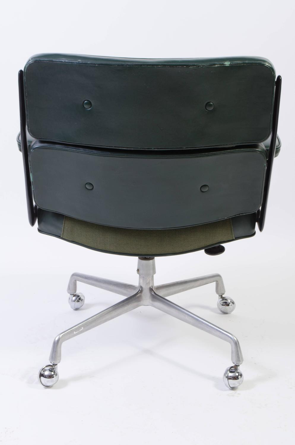 time life chair by eames for herman miller in green leather for sale