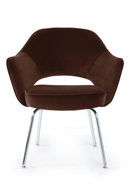 Saarinen For Knoll Executive Arm Chairs In Espresso Velvet