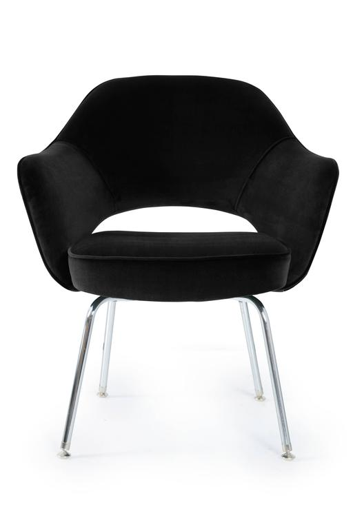 Mid-Century Classic Eero Saarinen Executive armchairs, manufactured by Knoll Furniture. These are custom upholstered in a Noir 100% cotton Italian velvet. We completely restore each chair in our own in-house workroom and in addition to new fabric we