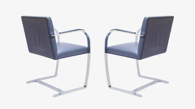 Mies Van Der Rohe for Knoll Brno Flat-Bar Chairs in Navy Leather, Pair 4