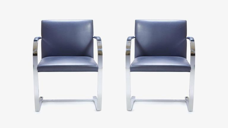 Mies Van Der Rohe for Knoll Brno Flat-Bar Chairs in Navy Leather, Pair 2