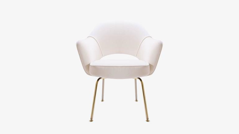 Saarinen Executive Armchair in Crème Velvet, 24-Karat Gold Edition, Set of 6 2