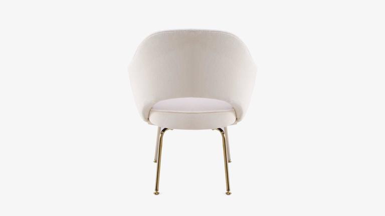 Saarinen Executive Armchair in Crème Velvet, 24-Karat Gold Edition, Set of 6 6