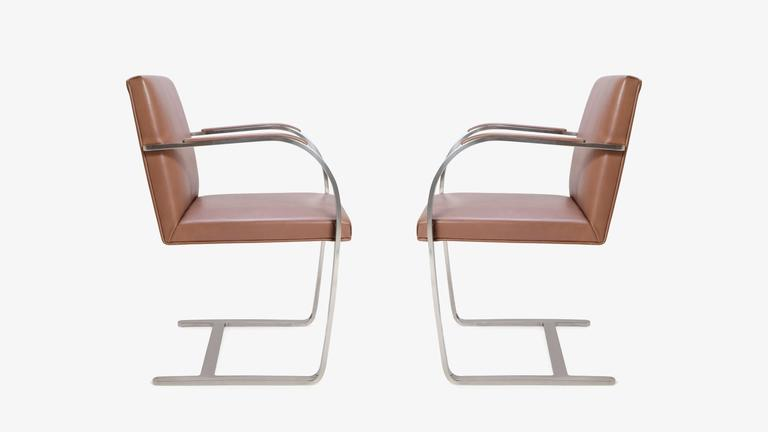 Mid-Century Modern Mies van der Rohe for Knoll Brno Flat-Bar Chairs in Cognac Leather, Pair For Sale