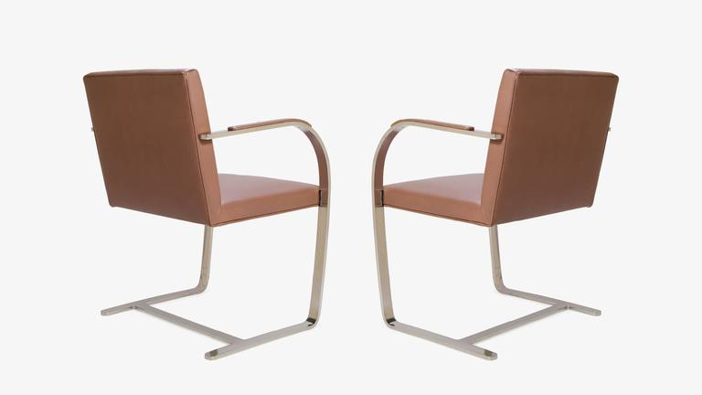 American Mies van der Rohe for Knoll Brno Flat-Bar Chairs in Cognac Leather, Pair For Sale