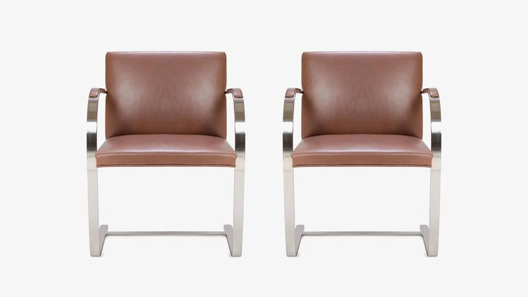 The definition of minimalism in a singular design, achieved by the great Ludwig Mies van der Rohe in 1929, the Brno flat-bar chair is just that. These are vintage condition Mies van der Rohe for Knoll chairs upholstered in original supple Cognac