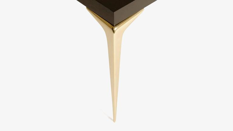 American Colette Brass Occasional Tables in Ebony by Montage, Pair For Sale