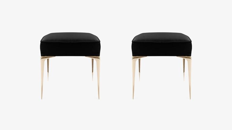 Colette Brass Ottomans in Noir Velvet by Montage, Pair 3