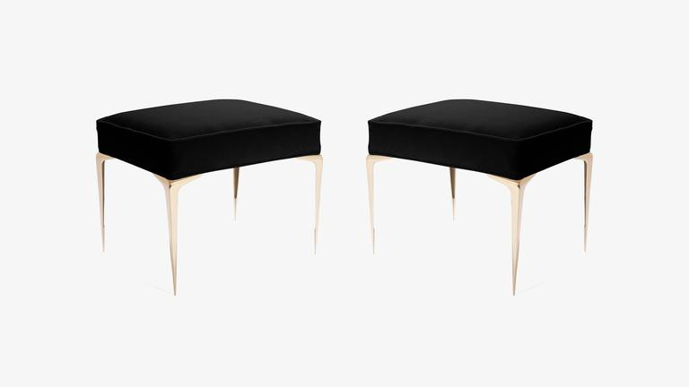 Colette Brass Ottomans in Noir Velvet by Montage, Pair 2