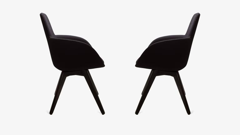 scoop high chairs in black wool by tom dixon  pair at 1stdibs Modern Occasional Chairs Modern Occasional Chairs