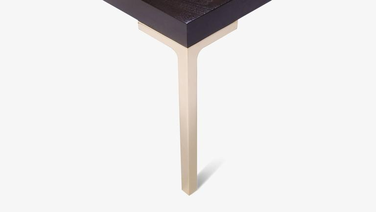 American Astor Brass Occasional Tables in Walnut by Montage, Pair For Sale