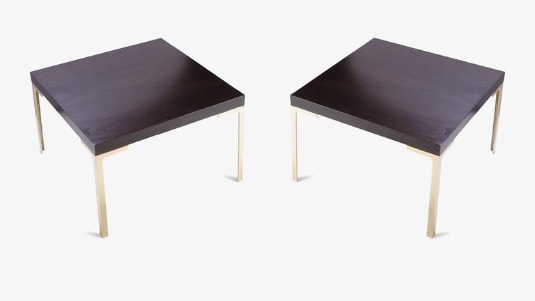 Mid-Century Modern Astor Brass Occasional Tables in Walnut by Montage, Pair For Sale