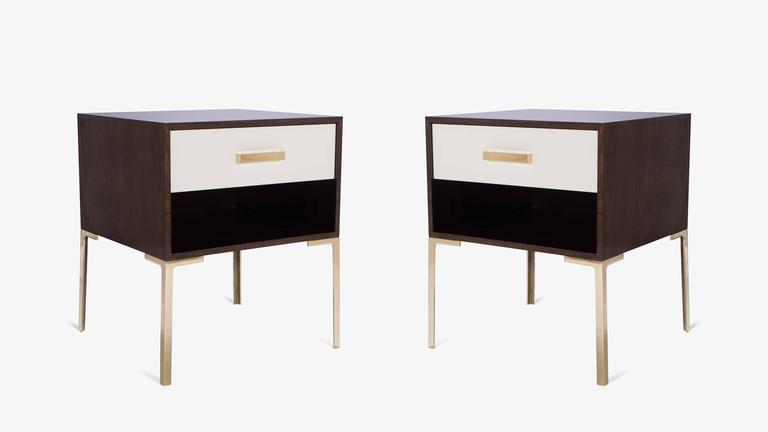 Astor Tall Brass Nightstands in Ebony and Ivory Walnut by Montage 2