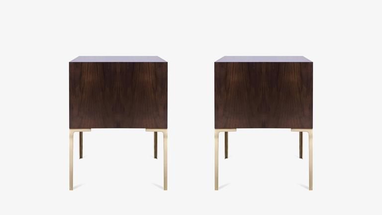 Mid-Century Modern Astor Tall Brass Nightstands in Ebony and Ivory Walnut by Montage For Sale