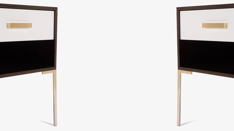 Astor Tall Brass Nightstands in Ebony and Ivory Walnut by Montage 4