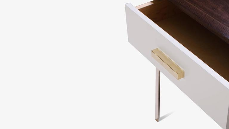 Astor Tall Brass Nightstands in Ebony and Ivory Walnut by Montage 5