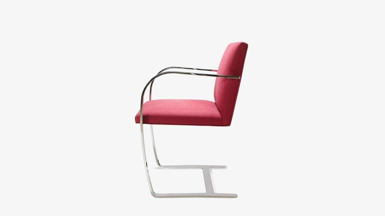 American Mies van der Rohe for Knoll Brno Flat-Bar Chairs in Merlot Herringbone Wool, S/6 For Sale