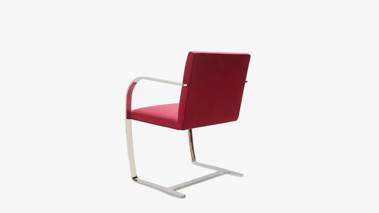 Mies van der Rohe for Knoll Brno Flat-Bar Chairs in Merlot Herringbone Wool, S/6 In Excellent Condition For Sale In Bridgeport, CT