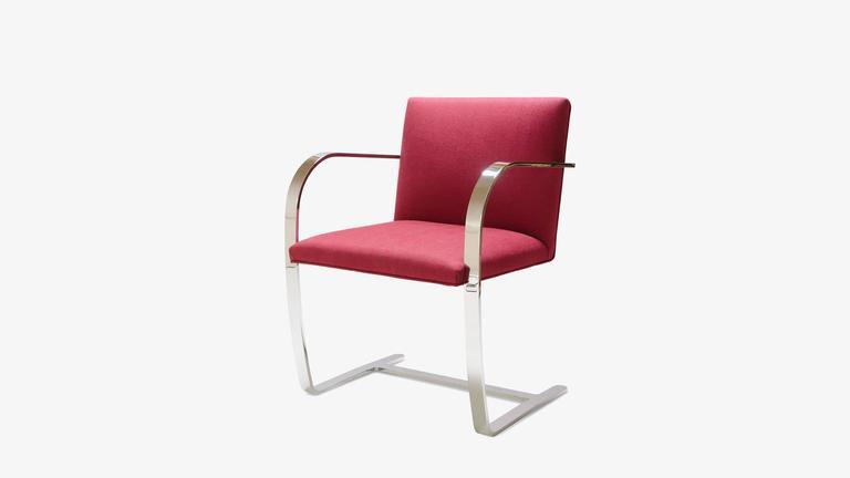 Mid-Century Modern Mies van der Rohe for Knoll Brno Flat-Bar Chairs in Merlot Herringbone Wool, S/6 For Sale