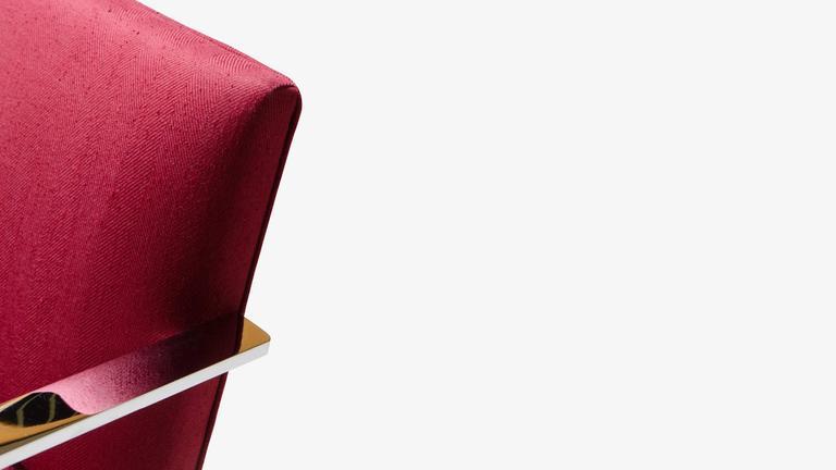 Steel Mies van der Rohe for Knoll Brno Flat-Bar Chairs in Merlot Herringbone Wool, S/6 For Sale