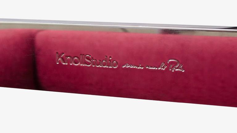 Mies van der Rohe for Knoll Brno Flat-Bar Chairs in Merlot Herringbone Wool, S/6 For Sale 2