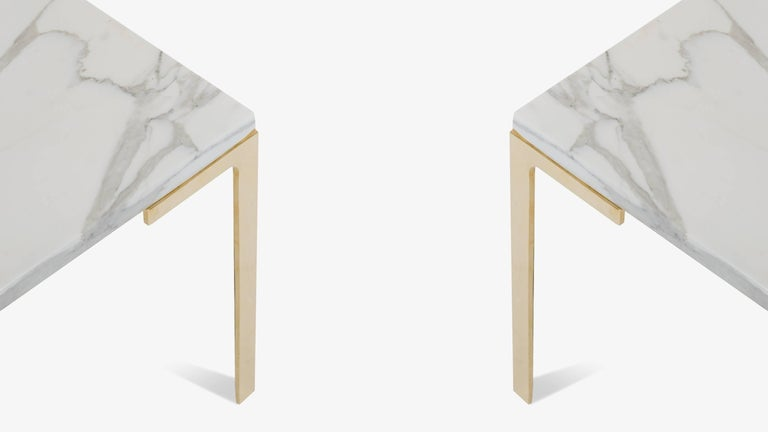 Astor Brass Occasional Tables in Carrara Marble by Montage, Pair 2