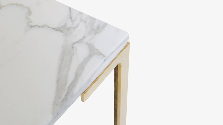 Mid-Century Modern Astor Brass Occasional Tables in Carrara Marble by Montage, Pair For Sale