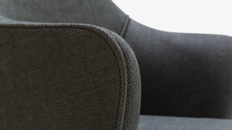Contemporary Saarinen Executive Arm Chair in Textured Charcoal Weave, Swivel Base For Sale