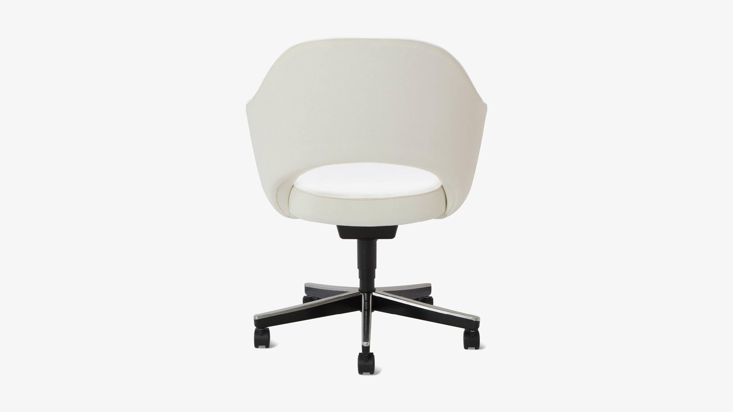 American Saarinen Executive Arm Chair In Ivory Basket Weave, Swivel Base  For Sale