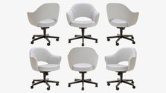 Saarinen Executive Arm Chairs in Fog Luxe Suede, Swivel Base - Set of 6
