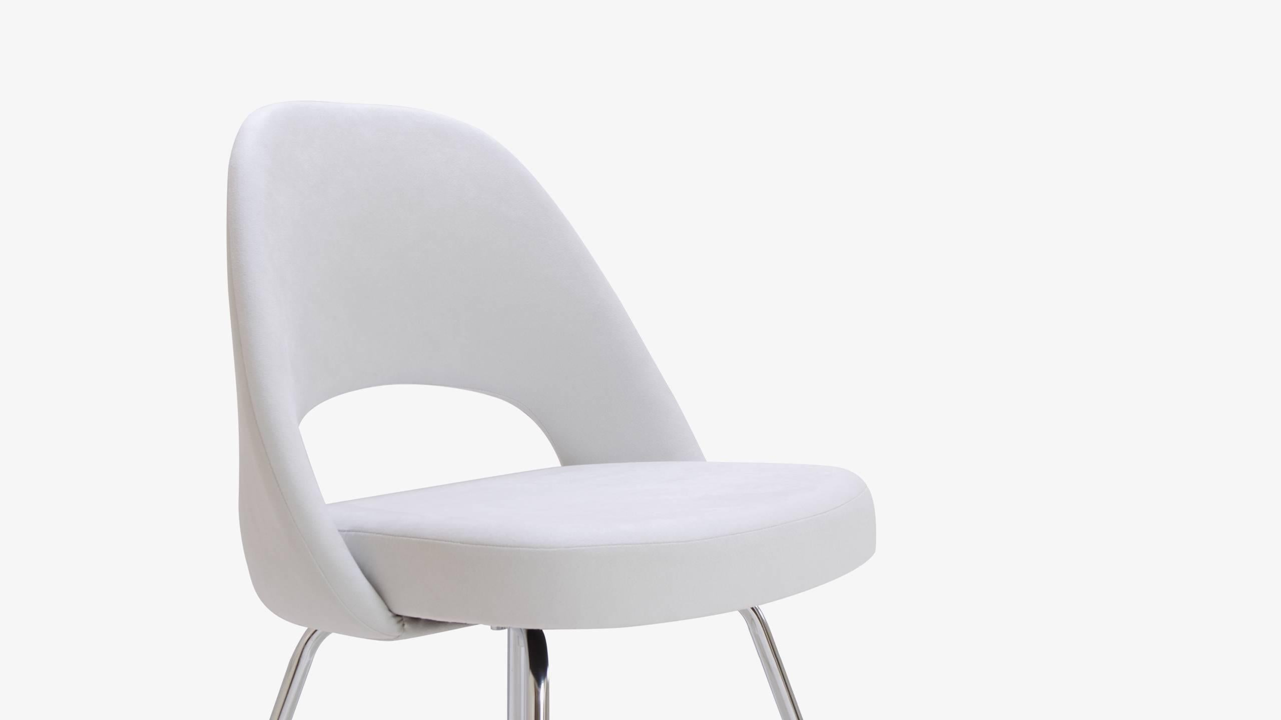 saarinen executive armless chair in dove luxe suede for sale at 1stdibs