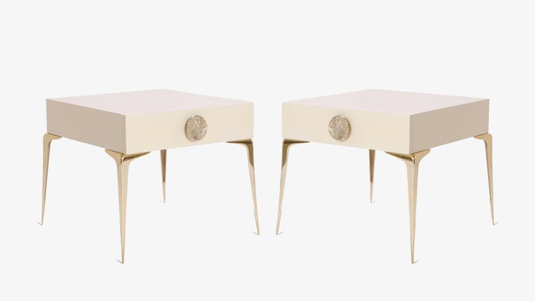 The Colette petite nightstand, skilfully executed carpentry with polished brass hardware. Colette was designed with the delicate proportions of the Mid-Century, celebrating an era of design that remains ever so popular today.