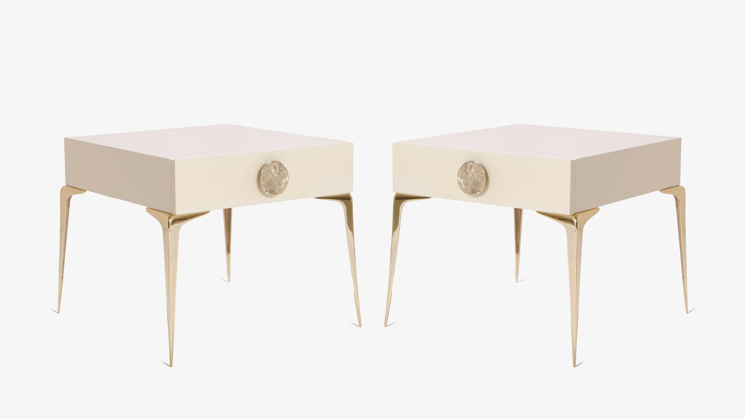 Colette Petite Brass Nightstands In Ivory Lacquer By Montage, Pair For Sale  At 1stdibs